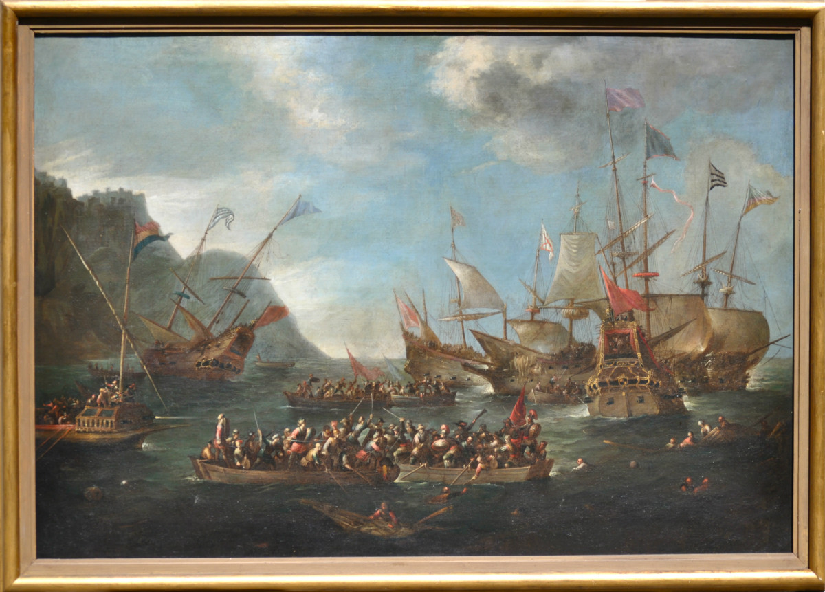 A naval battle between Christian and Turkish ships - Wael